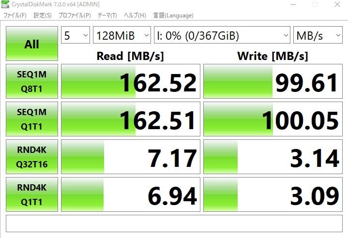 CrystalDiskMarkの評価結果(SanDisk Extreme 400GB)